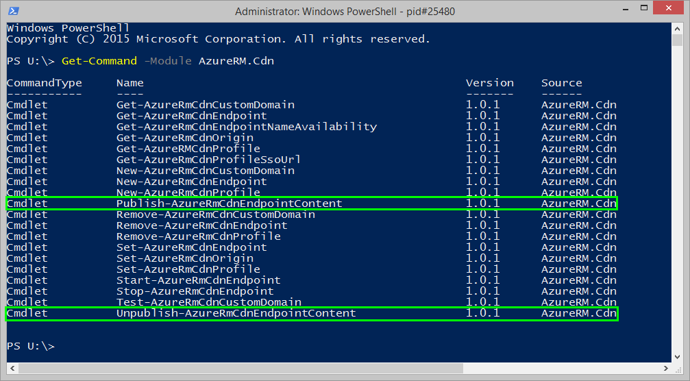 List of available commands in v1.0.1 of AzureRM.Cdn